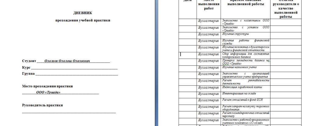 Как написать отчет по практике образец